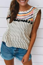 Bomshe Striped Patchwork Black Blouse