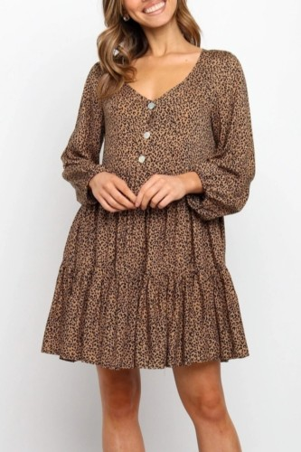 Bomshe V Neck Leopard Print Fold Design Brown Mini Dress