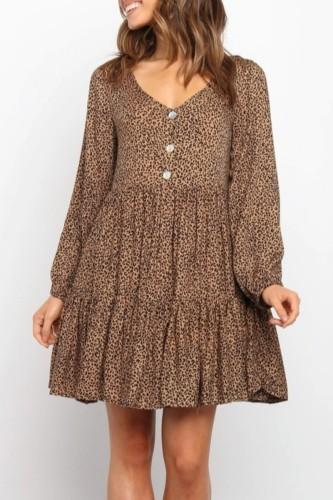 Bomshe V Neck Leopard Print Fold Design Brown Mini Dress