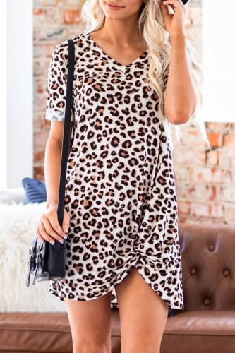 Bomshe V Neck Leopard Print Asymmetrical Mini Dress
