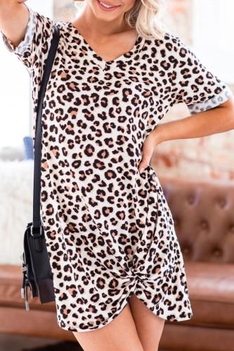 Bomshe V Neck Leopard Print Asymmetrical Mini Dress