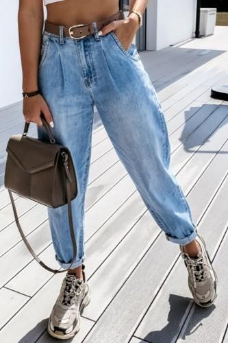 Bomshe High-waisted Basic Blue Jeans