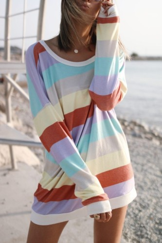 Bomshe Rainbow Striped Multicolor Shoulder Mini Dress