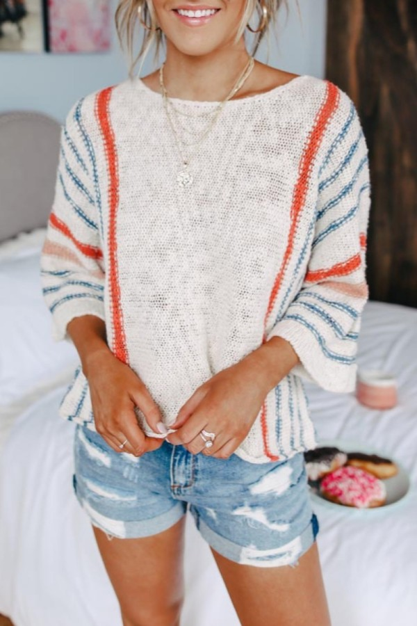 Bomshe Striped Print Loose White Sweater