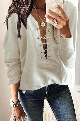 Bomshe V Neck Bandage Design Beige Sweatshirt