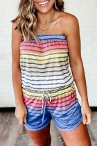 Bomshe Dew Shoulder Rainbow Striped Multicolor One-piece Romper