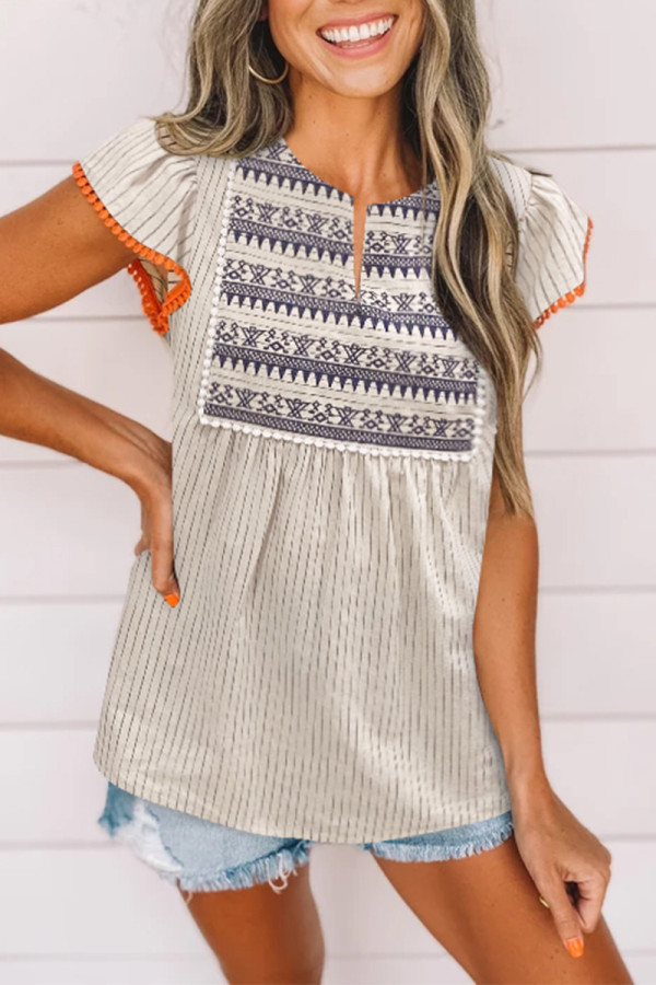 Bomshe  Striped Patchwork Embroidery Khaki Blouse