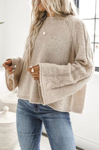 Bomshe Basic Loose Flared Sleeves Apricot Sweater