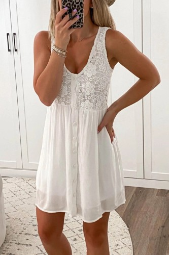 Bomshe V Neck Lace Patchwork White Mini Dress