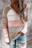 Bomshe Hooded Collar Patchwork Khaki Sweater
