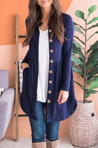 Bomshe Single Breasted Fold Design Royalblue Cardigan(3 colors)