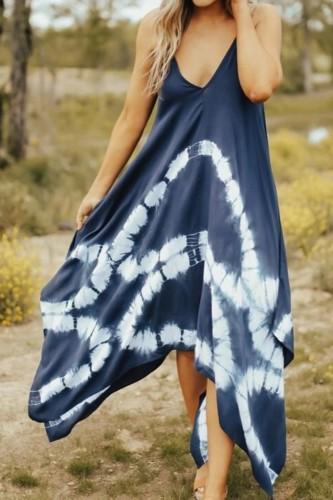 Bomshe Spaghetti Strap Tie-dye Asymmetrical Blue Maxi Dress