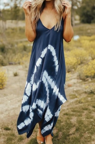 Bomshe Spaghetti Strap Tie-dye Asymmetrical Blue Maxi Dress