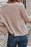 Bomshe Basic Loose Flared Sleeves Apricot Sweater