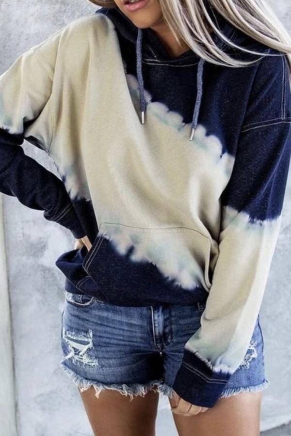 Bomshe Hooded Collar Tie-dye Bue Hoodie
