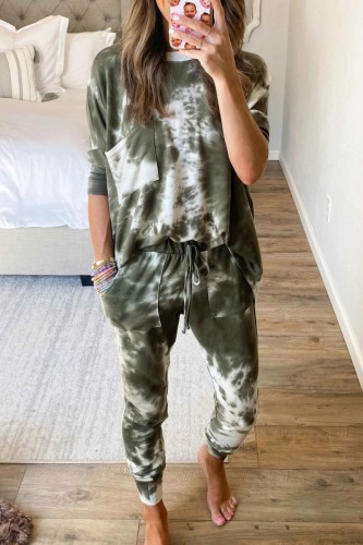 Bomshe O Neck Tie-dye Green Two-piece Pants Set