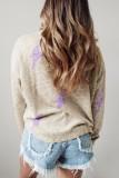Bomshe Lightning Bolt Print Grey Sweater(2 Colors)