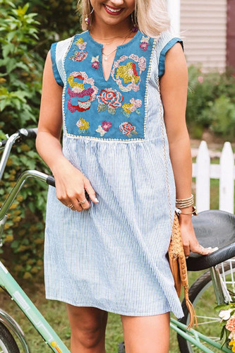 Bomshe Embroidered Patchwork Blue Mini Dress