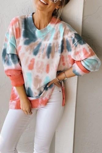 Bomshe O Neck Tie-dye Multicolor Sweatshirt