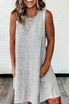 Bomshe Striped Tank Style Grey Mini Dress