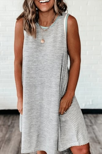 Bomshe Striped Tank Style Grey Mini Dress