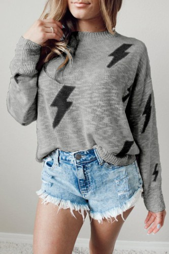 Bomshe Lightning Bolt Print Grey Sweater(2 Colors)