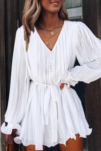 Bomshe V Neck Fold Design White Mini Dress