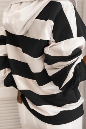 Bomshe Hooded Collar Striped Black Hoodie