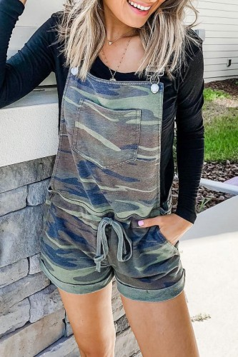 Bomshe Camo Print Drawstring One-piece Romper