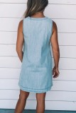 Bomshe Bandage Design Baby Blue Denim  Midi Dress·Presale