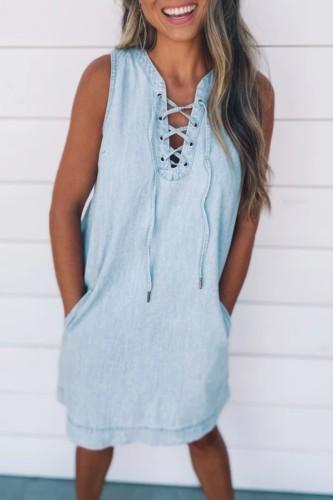 Bomshe Bandage Design Baby Blue Denim  Midi Dress·Presale