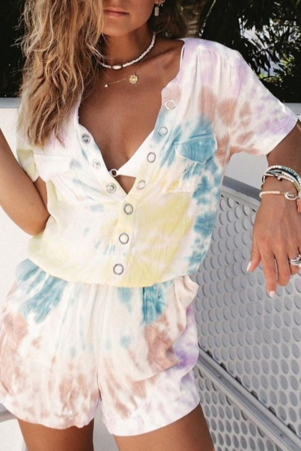 Bomshe Tie-dye White One-piece Romper