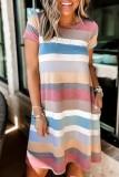 Bomshe Rainbow Striped Loose Hem Multicolor Mini Dress