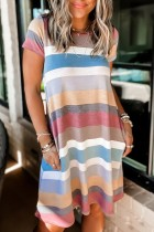 Bomshe Rainbow Striped Loose Hem Multicolor Mini Dress