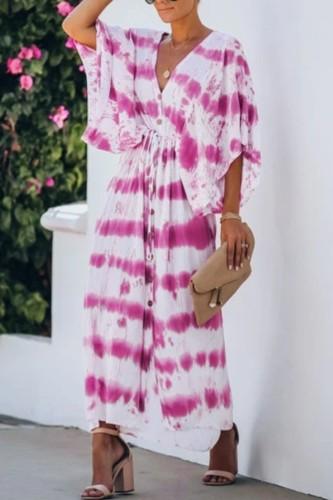 Bomshe V Neck Tie-dye Rose Red Maxi Dress