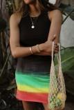 Bomshe Tank Style Tie-dye Multicolor Mini Dress(4 Colors)