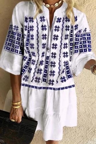 Bomshe Print Loose White Mini Dress