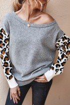 Bomshe Print Patchwork Grey Sweater