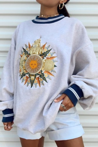 Bomshe O Neck Print Grey Sweatshirt