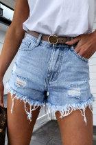 Bomshe Broken Holes Torn Edges Baby Blue Denim Shorts