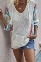 Bomshe Hooded Collar Print White Sweater