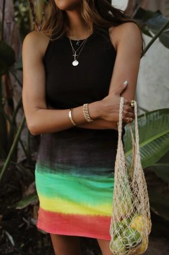 Bomshe Sleeveless Tie-dye Black Mini Dress