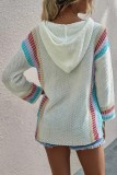 Bomshe Hooded Collar Print White Sweater