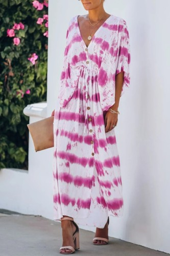 Bomshe V Neck Tie-dye Rose Red Maxi Dress