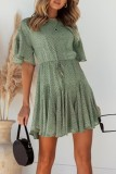 Bomshe Smocked Waist Flounce Design Green Mini Dress(2 Colors)