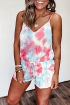 Bomshe Spaghetti Strap Tie-dye Wine Red One-piece Romper