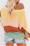 Bomshe O Neck Patchwork Multicolor Sweater