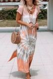 Bomshe Side Slit Tie-dye Khaki Maxi Dress