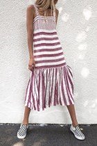 Bomshe Striped Patchwork Wine Red Midi Dress