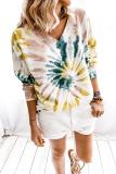 Bomshe V Neck Tie-dye Khaki T-shirt